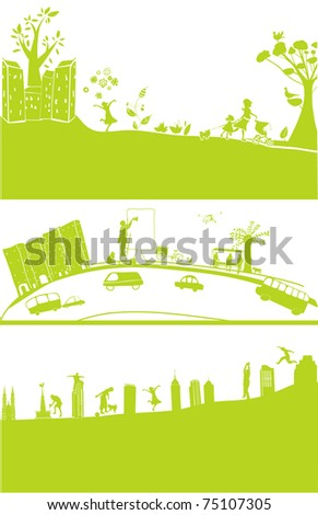 3 cityscape banners - stock vector