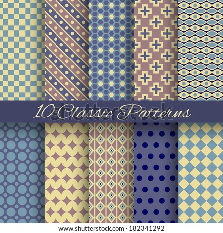 10 Classic different vector seamless patterns (tiling). Blue, yellow and brown colors. Endless texture for printing onto fabric, paper, scrap booking. Abstract dot and square shape. Classy background. - stock vector