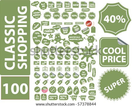 100 classic shopping stickers. vector - stock vector