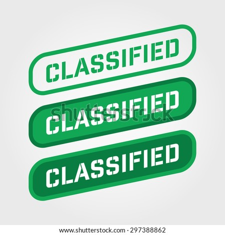 """""""CLASSIFIED"""" Green Stamp vector over a white background. - stock vector"""