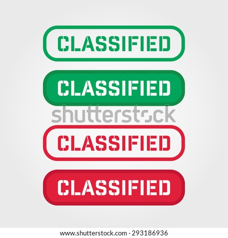 """""""CLASSIFIED"""" Red and Green Stamp vector over a white background. - stock vector"""
