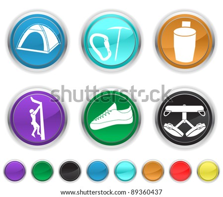 climbing icons,each color icons is set on a different icons - stock vector