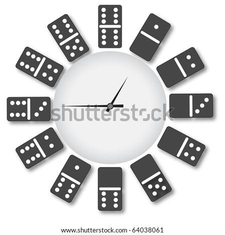 Clock of domino.Vector - stock vector