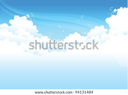 clouds  In Blue Sky - stock vector