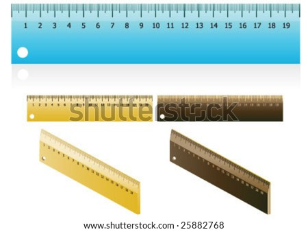 20 cm ruler in three different color - stock vector
