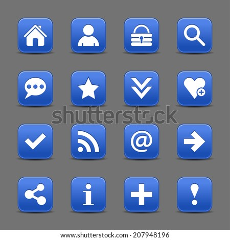 16 cobalt satin icon with white basic sign on rounded square web button with black shadow on dark gray background. This vector illustration internet design element save in 8 eps - stock vector