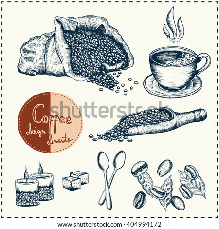 Coffee design elements. Can be used in your own way of design. Hand drawn elements. Coffee mug, spoon, candles, coffee grains, bag with coffee, trowel. Vector - stock. - stock vector