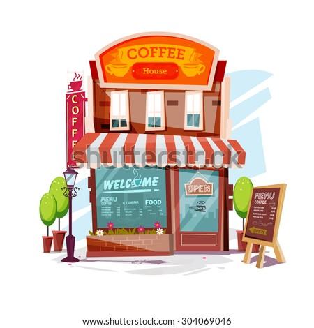 coffee house. Facade of a coffee shop store or cafe - vector illustration - stock vector