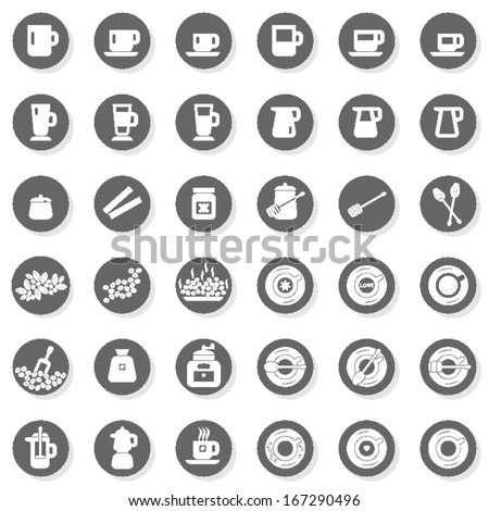36 coffee time cafe drink related button set isolated on white background - stock vector