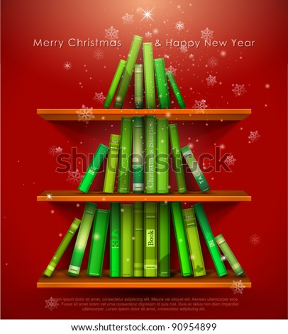"""Collection of Christmas Stories"". Christmas tree formed from books on the bookshelf. Vector Illustration. - stock vector"