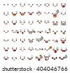 Collection of cute lovely emoticon emoji Doodle cartoon face , smile , happy , sad , shock , bored , sick , vomit , scream , joy , cry   in childlike manga cartoon style - Vector file EPS10  - stock vector