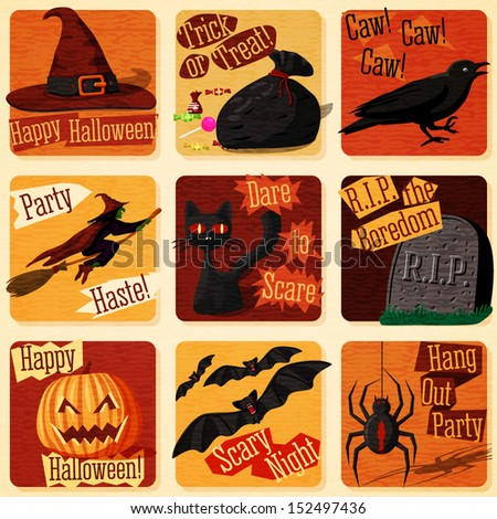 Collection of cute retro stylized halloween illustrations with signs of holiday, and all it symbols- cat, bat, witch, pumpkin, raven, spider etc. Vector  - stock vector