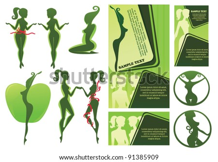 collection of diet silhouettes, beauty symbols, poster and business cards,editable vector illustration - stock vector