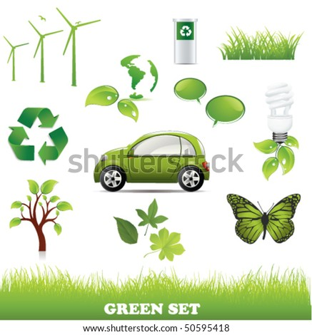 Collection of green eco - stock vector