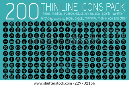 collection thin lines pictogram icon set concept background. Vector template design for web and mobile application - stock vector
