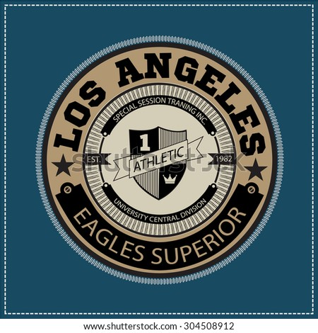 College university Los angeles eagles superior division team sport label typography, t-shirt graphics for apparel - stock vector