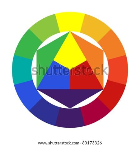 12 color color wheel - stock vector