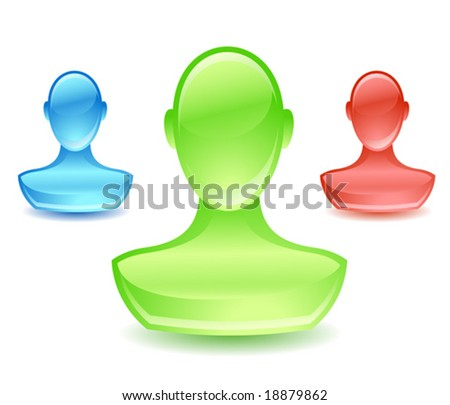 3color glossy user icon, see also Images ID: 19228624, 18970057, 18879859 - stock vector