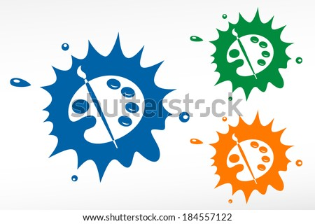 Color palette and artistic brush. Vector color blob - stock vector