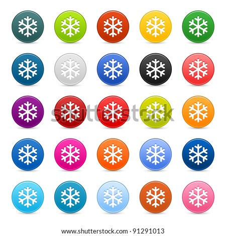 25 color satin button with snowflake sign. Round shape with gray drop shadow on white background - stock vector