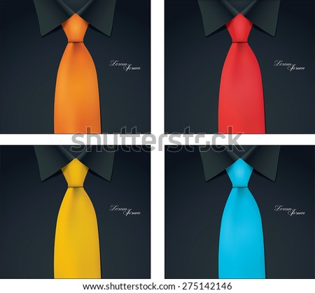 4 color variables of shirt and tie illustration, black shirt, vector