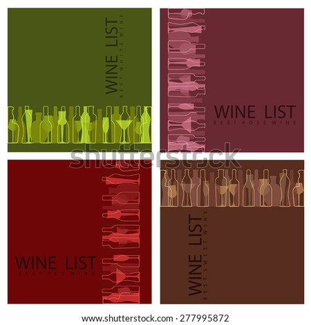 4 color vector restaurant wine card with inscriptions and images of bottles, glasses on burgundy, brown, pink and green background - stock vector