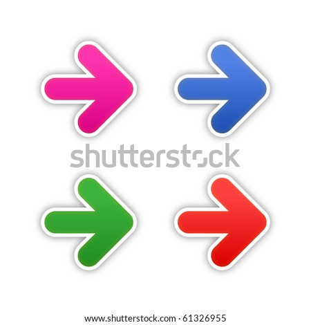 4 colored arrow symbol stickers web 2.0 buttons with shadow on white background. 10 eps - stock vector