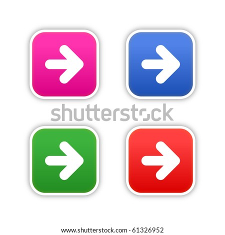 4 colored arrow symbol web 2.0 square stickers with shadow on white background. 10 eps - stock vector