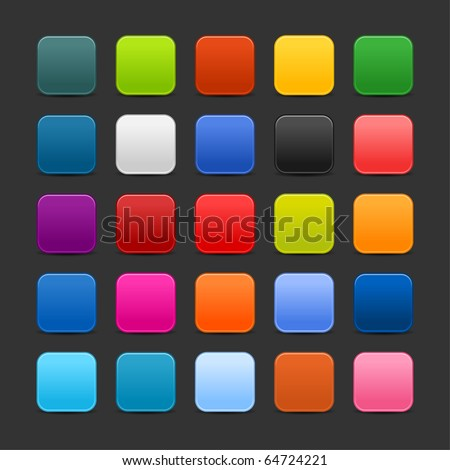 25 colored blank square web 2.0 button. Smooth satined shapes with shadow on gray background - stock vector