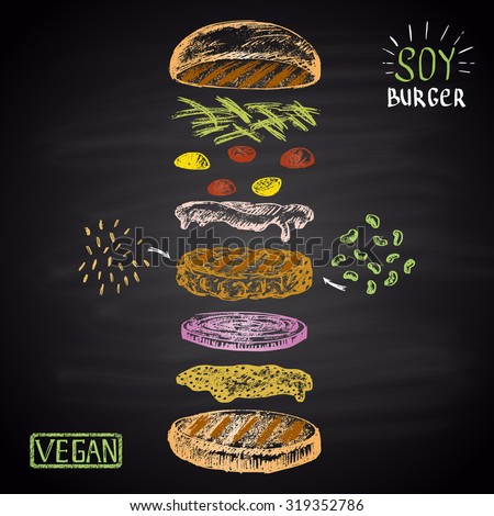 Colored chalk drawn illustration with ingredients of vegan burger (soybean, brown rice). No meat! - stock vector