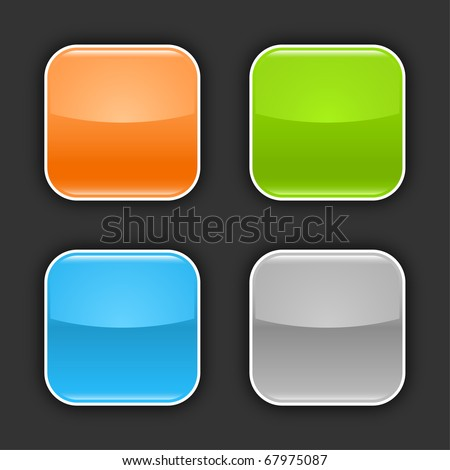 4 colored glossy blank web 2.0 button with drop shadow on gray background - stock vector
