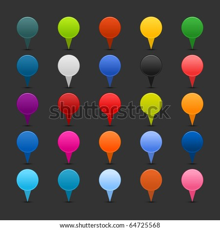 25 colored mapping pins web 2.0 buttons. Satined smooth rounded shapes with shadow on gray background - stock vector
