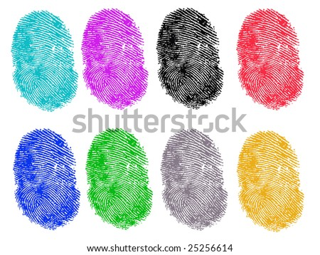 8 Colored Vector Fingerprints - Very accurately scanned and traced ( Vector is transparent so it can be overlaid on other images, vectors etc.) - stock vector