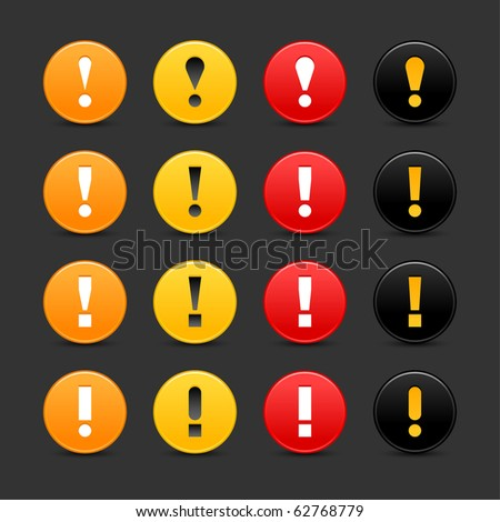 16 colored warning sign web 2.0 button with exclamation mark. Smooth satined round shape with shadow on gray background - stock vector