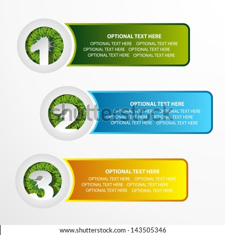 colored web banner set with grass element  - stock vector
