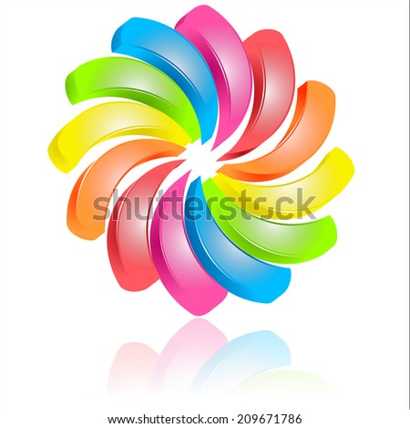 Colorful abstract floral sign 	 - stock vector