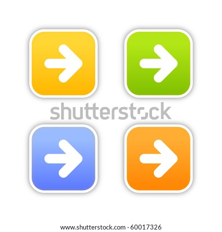 4 colorful arrow sign web 2.0 button. Square stickers with shadow on white background. 10 eps - stock vector