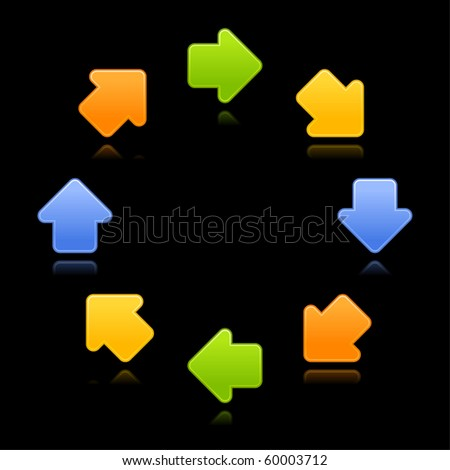 8 colorful arrow sign web 2.0 button with reflection on black background - stock vector