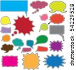 20 colorful comics bubbles stickers. vector - stock vector