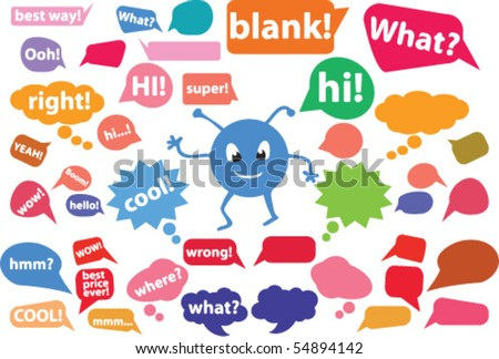 20 colorful comics bubbles stickers. vector - stock vector