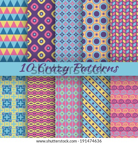 10 Colorful crazy vector seamless patterns (tiling). Pink, yellow and blue colors. Endless texture can be used for printing onto fabric and paper or scrap booking. Abstract stripe and dot shape. - stock vector