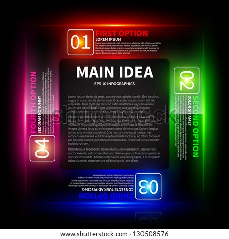 4 colorful glowing options, arranged in a square around the main idea. - stock vector