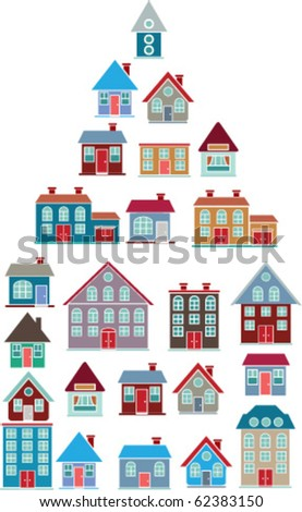 20 colorful houses. vector - stock vector