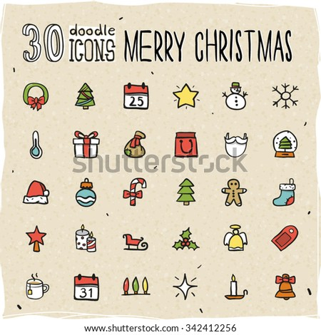 30 Colorful Merry Christmas Icons - stock vector