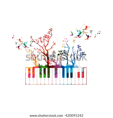 Colorful music background with piano keyboard and hummingbirds - stock vector