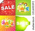 4 Colorful Sale Posters With Sunburst, Vector Illustration - stock photo