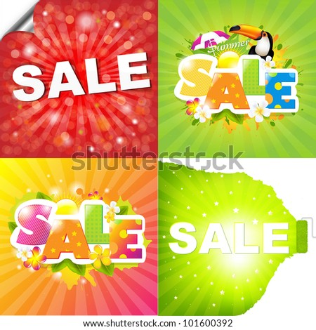 4 Colorful Sale Posters With Sunburst, Vector Illustration - stock vector