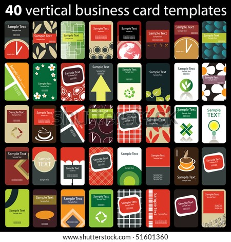 40 Colorful Vertical Business Cards - stock vector