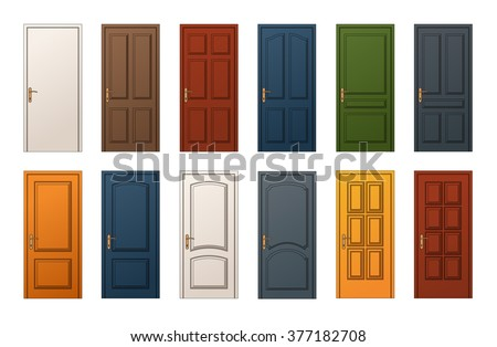 12 Colorful Wooden Doors. Templates Collection for Web Print and Architectural Drawings & 12 Colorful Wooden Doors Templates Collection Stock Vector 377182708 ...