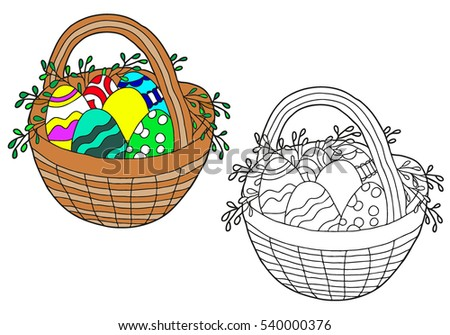 Coloring Book Hand Drawn Black And WhiteAdults Children Basket With